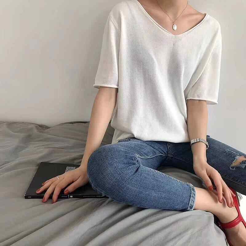 夏薄型基本特大の Tシャツトップ Tシャツ半袖 V ネックカジュアルニット Tシャツニット基本ビッグ tシャツ固体