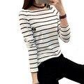 2015 Corea Moda Mujeres Camiseta Básica Más El Tamaño de la Raya Vertical del Cuello de La Raya de Manga Larga T-shirt blusa vetement femme BH476