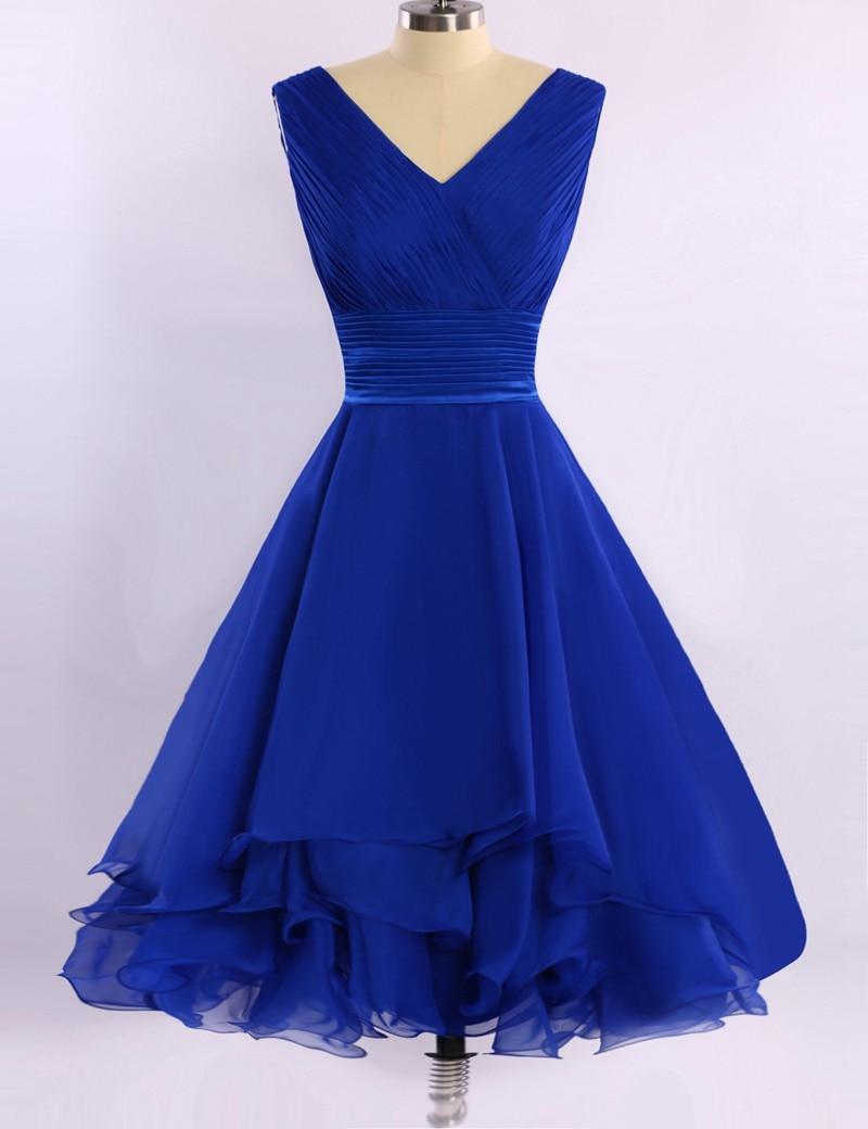 Cheap v neck royal blue evening dress 2016 short chiffon for Royal blue wedding dresses cheap