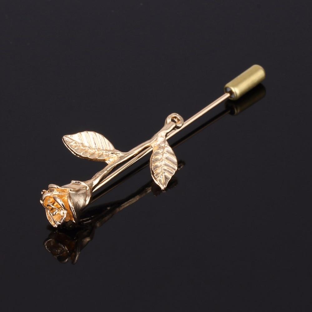 Uus mood lillenahast erikujundusega meestele naistele vabaaja prossid kuldvärvi roosikrantsi rinnamikrofon nööp ülikonna keti jaoks XR183