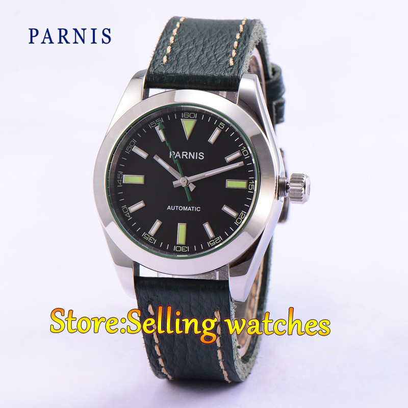 40mm Parnis Casual Sapphire Crystal Black Dial Green Strap Business Men Automatic MIYOTA MovementWatch 40mm parnis casual sapphire crystal black dial men automatic miyota movement watch