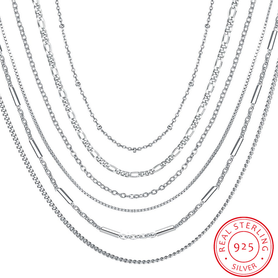 INALIS 925 Sterling Silver Chain Woman Fashion Charm 925 Silver Necklace Original Basic Chain Luxury Jewelry цена 2017