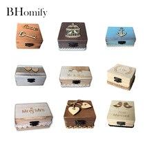 BHomify Γάμος διακόσμηση δαχτυλίδι Φορητό κουτί 16 στυλ εξατομικευμένη κουτί δαχτυλίδι γάμου Ξύλινο κουτί κατόχου δαχτυλίδι Ρουστίκ διακόσμηση γάμου