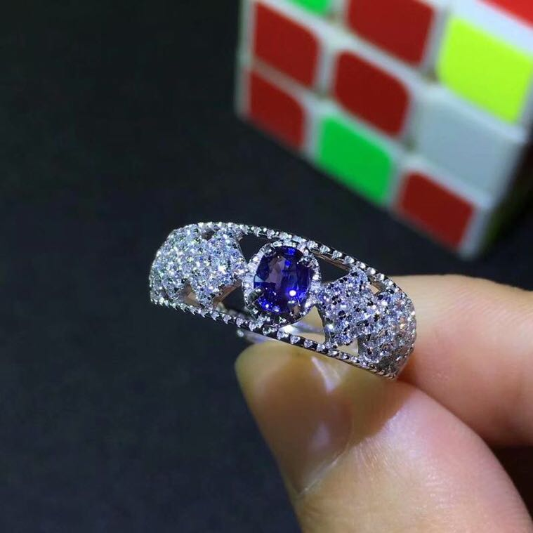Seckill Big Discount Sapphire ring Natural Sapphire ring with 925 sterling silver Blue gems Fine jewelry For men or women 4*5mm