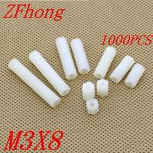 цена на 1000pcs m3*8 M3 x 8 plastic PC female female white hex nylon standoff spacer