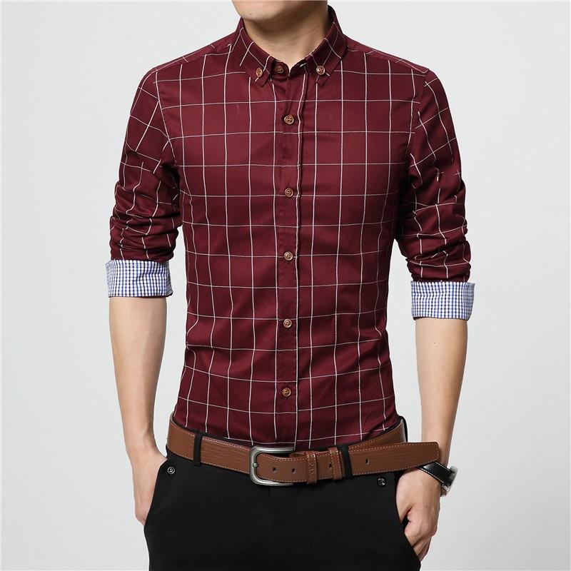 ERIDANUS 2017 Men's Plaid Cotton Dress Shirts Male High Quality Long Sleeve Slim Fit Business Casual Shirt Plus Size 5XL M433 3
