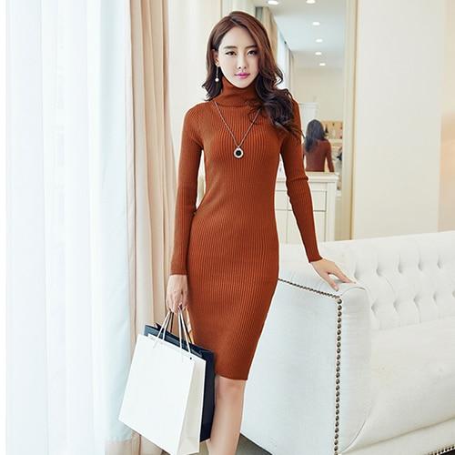 Wmswjh Women Winter Autumn Elegant Dresses 2018 Casual Turtleneck Long Sleeve Dress Slim Sweater Knitted Pencil Dress vestidos