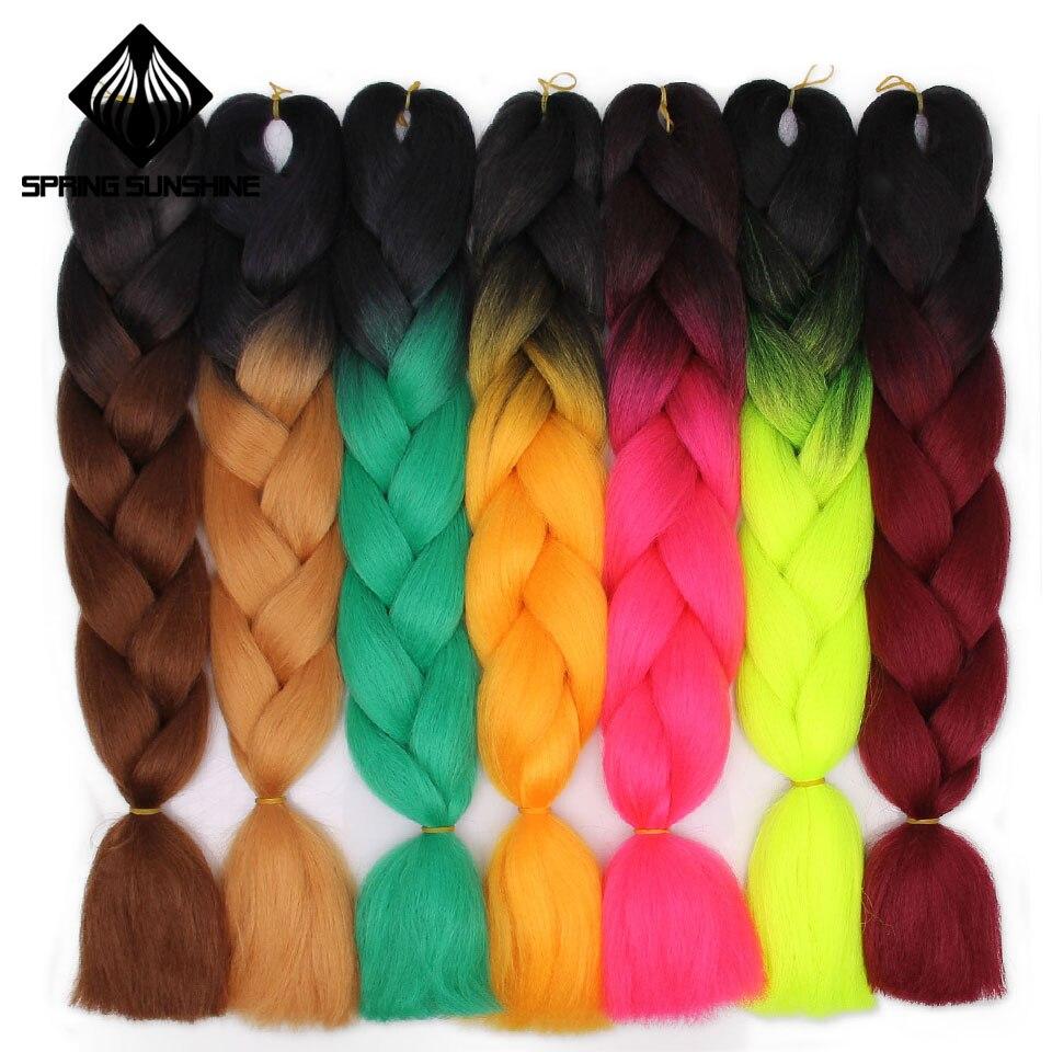 Весеннее солнце дреды волосы канекалон волосы Омбре вязаный крючком плетение синтетические волосы наращивание волос для косичек Синий Розовый 24 дюймов