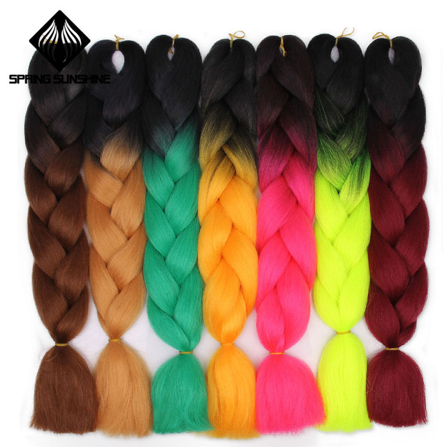 Spring sunshine 1 5PCS 24inch Jumbo Braid Hair Kanekalon Hair Ombre Crochet Braiding Synthetic Hair Extension For Braids Pink