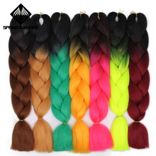 Spring sunshine Jumbo Braid Hair Kanekalon Hair Ombre Crochet Braiding Synthetic Hair Extension For Braids Blue Pink 24 inch cheap Jumbo Braids 1strands pack 24 inches 100g