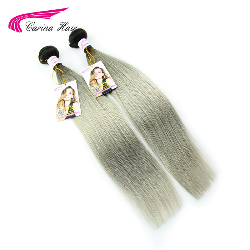 #1b/grey hair extensions straight hair 2pc/lot Brazilian gray hair weave ombre gray hair weave bundles free shipping