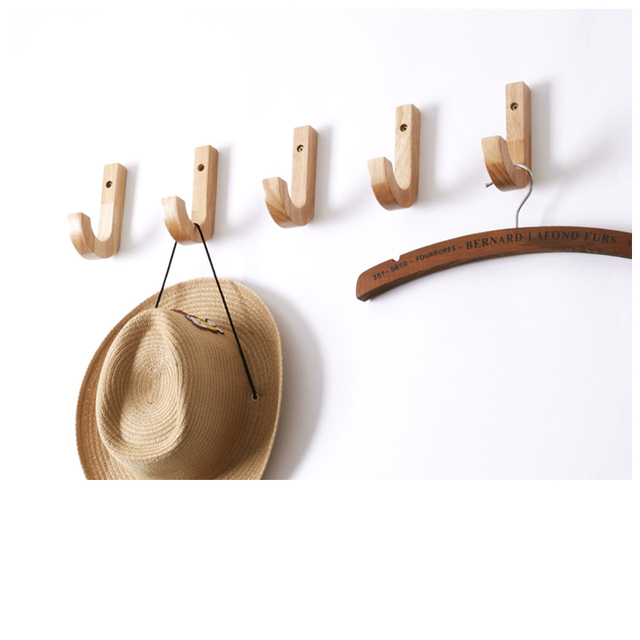 Natural Wood Wall Mounted Coat Hook Clothes Hangers Scarf Cap Bag Schoolbag Rack Storage Peg Headset