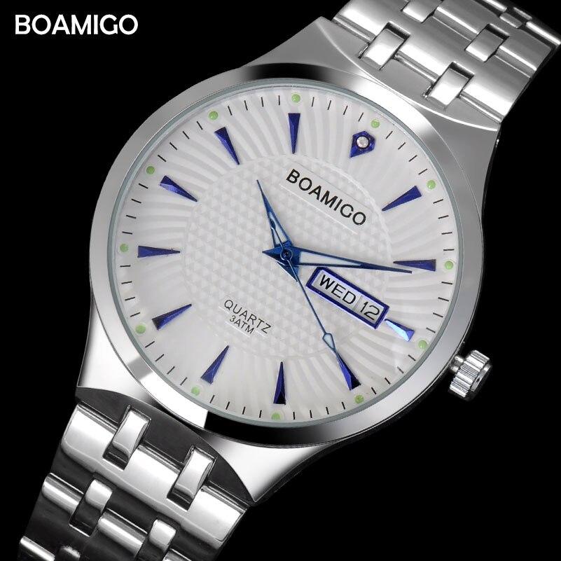 Hommes montres à quartz en acier d'affaires calendrier montres 2017 BOAMIGO marque argent cadeau montres 30 m étanche Relogio Masculino