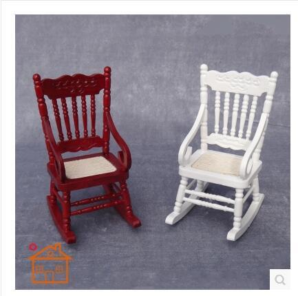 [Dollhouse DOLLHOUSE mini furniture accessories] Solid shook his chair White / red color option
