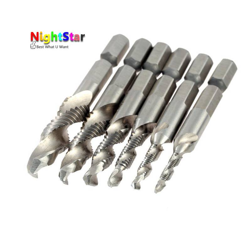 6 PCS Machine Spirale Point Straight Cannelée Filetage Métrique Plug Main Robinet Forage 1/4, 1/8, 3/8, 3/16, 5/16, 5/32