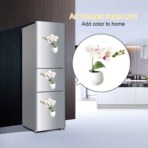 Image 5 - 3d 冷蔵庫ステッカー磁気多肉植物冷蔵庫マグネットステッカー花束花冷蔵庫鉢植えステッカーの壁