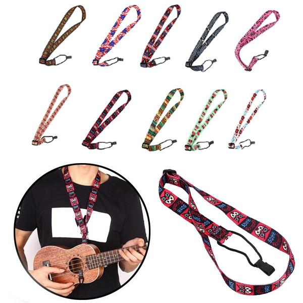 Adjustable Nylon Colorful Vivid Printing Style Ukulele Strap belt Sling with hook Ukulele guitar Accessories colorful classical guitar strings colorful nylon colorful coated copper alloy wound 0285 044 inch alice a107c