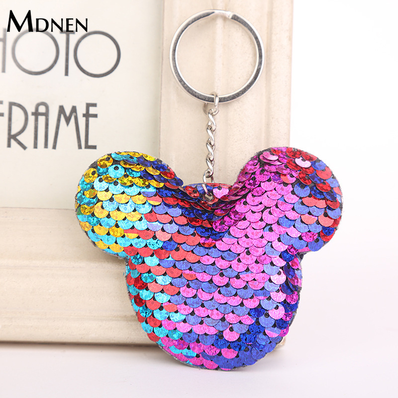 MDNEN Cute Women Mickey Sequins Keychains Sequin <font><b>Key</b></font> Chain Mouse Glitter <font><b>Pompom</b></font> <font><b>Key</b></font> <font><b>Ring</b></font> Cartoon Animal Keyholder Women Keyfob image