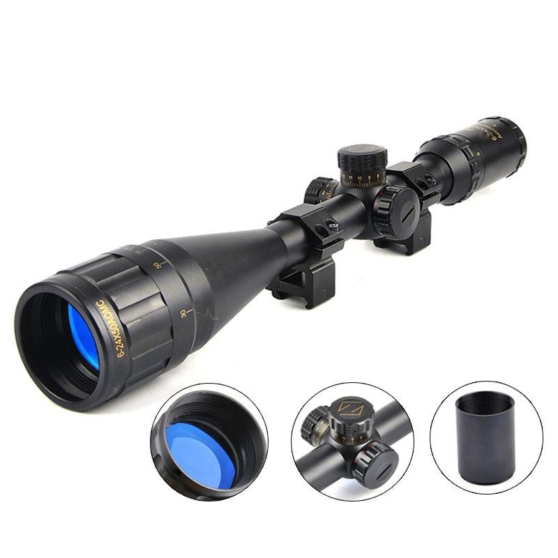 6-24X50 Golden Marking Optics Riflescope Red And Green Retical Fiber Optic Sight Scope Rifle Hunting Scope 6 24x50 red