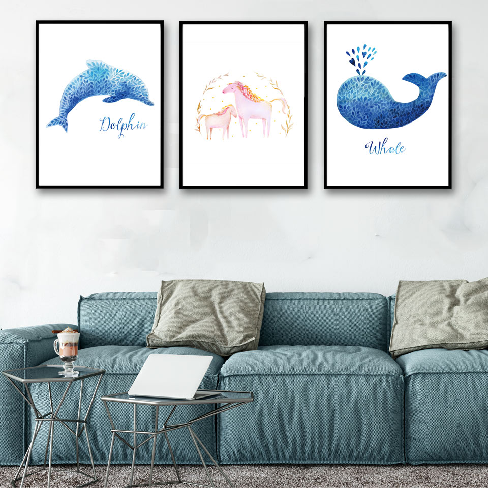 From the window to the wall whale - Watercolor Marine Whale Minimalism Art Canvas Poster Print Painting Picture Modern Home Living Room Decor No