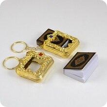Caja de Mini llaveros en árabe del Corán, musulmán, musulmán, se puede leer el papel real, llaveros colgantes, joyería religiosa de moda