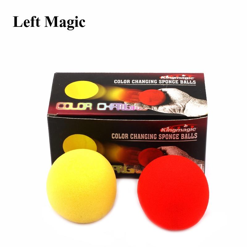 2 Pcs/ Set Color Change Sponge Ball Magic Tricks Fun Super Soft Sponges Changing Ball Square Close Up Stage Magic Props