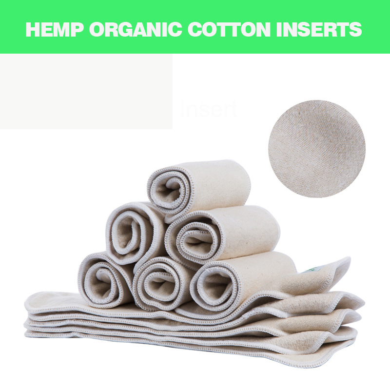 5 Pieces Infant Cloth Diapers Nappy Hemp And Organic Cotton Inserts Baby Cloth Diaper Inserts