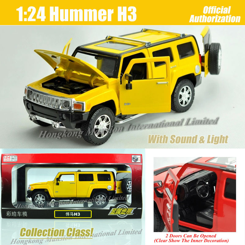 1:24 スケール金属ダイキャスト高級 SUV ハマーため H3 コレクションクラスクロスカントリーオフロード車のおもちゃサウンドライト  グループ上の おもちゃ & ホビー からの ダイキャスト & 車のオモチャ の中 1