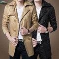 Hombres capa caliente de la venta de primavera 2017 de los hombres de manera Delgado largo abrigo más tamaño código de M, L, xl, XXL negro y caqui colores
