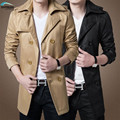 Men's coat hot sale spring 2017 men's fashion Slim long coat  plus size code M, L, XL, XXL black and khaki colors