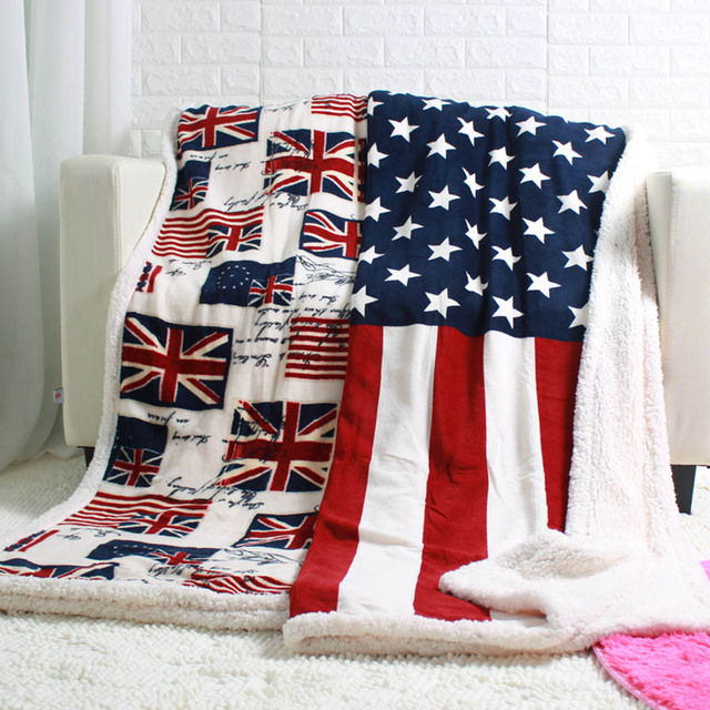 Double Layer Thick Usa Uk England British Flag Fleece Sherpa Sofa Blanket Throw Blankets