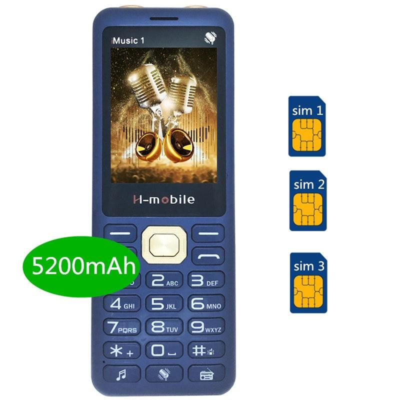 Réel 5200 mAh puissance banque 3 SIM chanter chanson cellulaire téléphone Super musique double haut-parleur pas cher chine téléphone mobile Téléphone h-mobile iMusic1