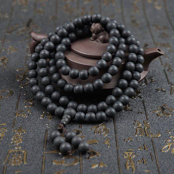 6mm/8mm/10mm/12mm Natural Polished Ebony Wood Beads Ebony Mala Beads Black Ebony Wooden Mala Beads,Meditation Prayer Beads