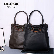 REGEM The European and American fashion leather handbag bag new single shoulder bag is contracted shopping bag of large capacity