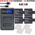 Bateries 4x batería sj4000 sjcam sj5000 sj6000 cargador doble para sj sj 4000 5000 6000 sj7000 sj9000 m10 sjcam cámara accessaries