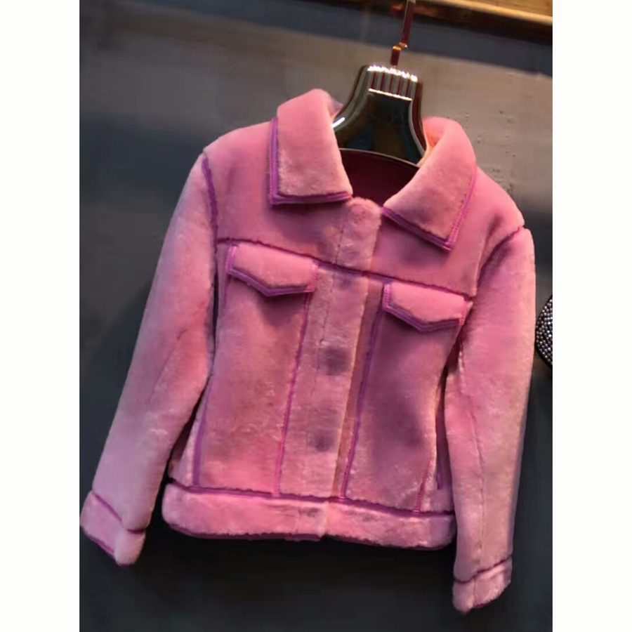 Promote Sale Genuine Sheepskin Women Overcoat Pretty Pink Color Real Shearling Female Outerwear Natural Sheepskin Fur Clothing