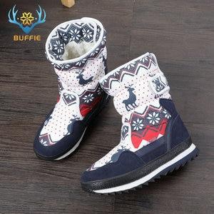 Image 4 - Vrouwen winter laarzen Lady warme schoenen sneeuw boot 30% natuurlijke wol binnenzool koe suède teen plus size 35 41 kerst Herten gratis verzending