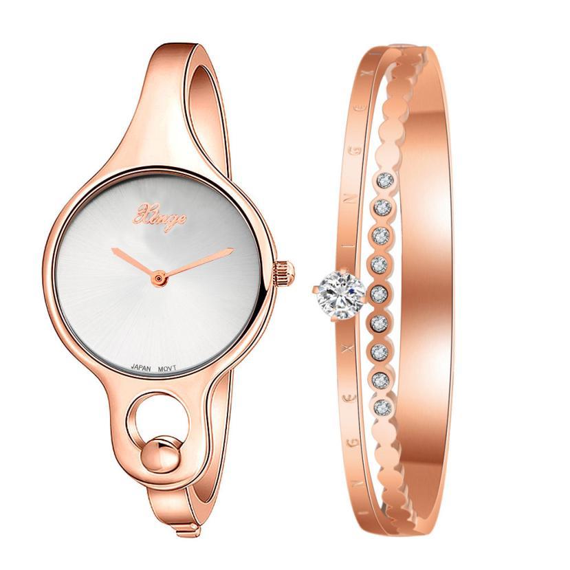2017 Часы женские золотые горный хрусталь браслет часы и браслет Relogio feminino Reloj Mujer с розничной коробкой подарок 17Jul21