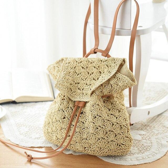 Cordón bolsas de playa de Paja Crochet Floral Patrón hecho a mano de ...