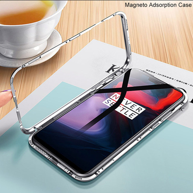 Built-in Magnet Case for OnePlus 6 Clear Tempered Glass Magnetic Adsorption Case for One+ 1+ 6 Metal Ultra Cover bumper 2