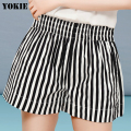 S-4XL plus size Women shorts striped high elastic waist loose cotton causal wide leg shorts woman pantalones mujer trousers