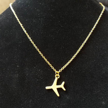 Europe and America Gold Silver Airplane Pendant Necklace Aircraft Chain Layered Necklace for Women Tiny Dainty Necklace Jewelry tiny skull necklace dainty layering delicate charm gold rose gold or silver plated mini skull pendant