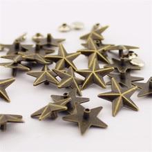 20 компл./лот 18 мм модные Стиль бронзового цвета, с заклепками в виде звезд, на шипы в стиле панк-рок металла серьги-гвоздики с крышкой поставщик заклепки для одежды