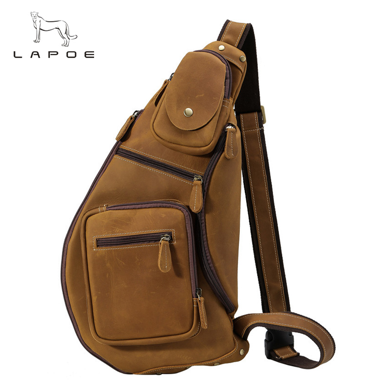LAPOE Men Chest Pack Single Shoulder Back Bag Genuine Leather Travel Men Crossbody Bags Shoulder Bags High Quality Leather Bag men s bags chest pack casual single shoulder back strap male bag split leather high capacity chest bag crossbody leather