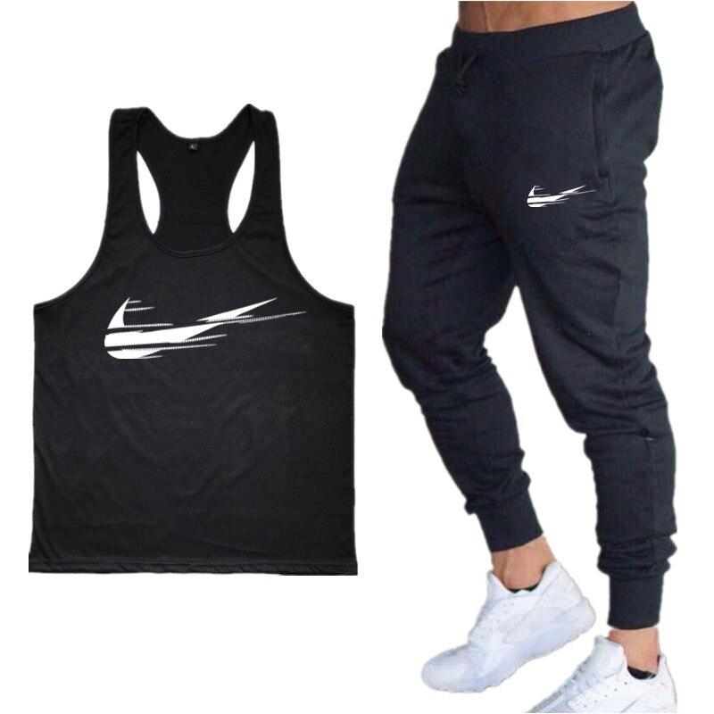 Fashion Gyms Brand Singlet Men+Trousers Two-Piece Suit Canotte Bodybuilding Stringer   Tank     Tops   Men Fltness Vest Muscle Guys Vest