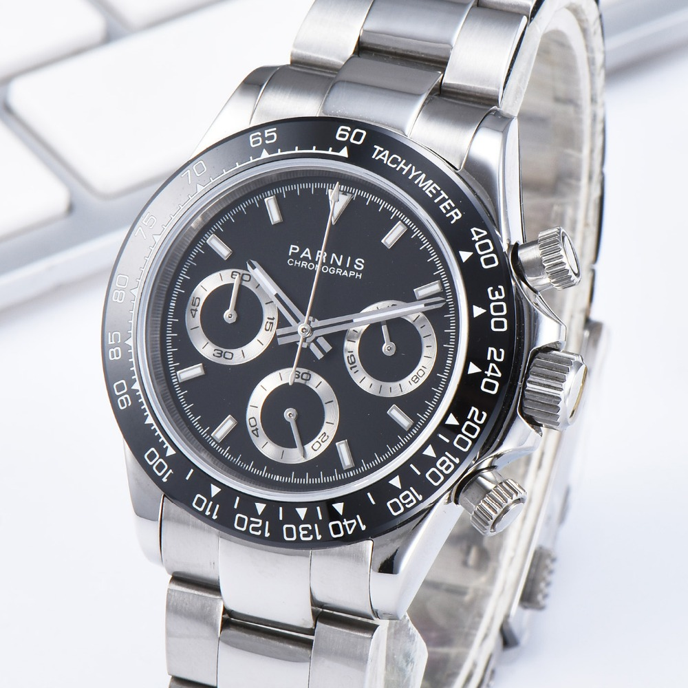 PARNIS 39MM Quartz Men \'s Watch Chronograph Waterproof Stainless Steel Band Mens Watches top brand luxury 2019 Man Clock PA6048