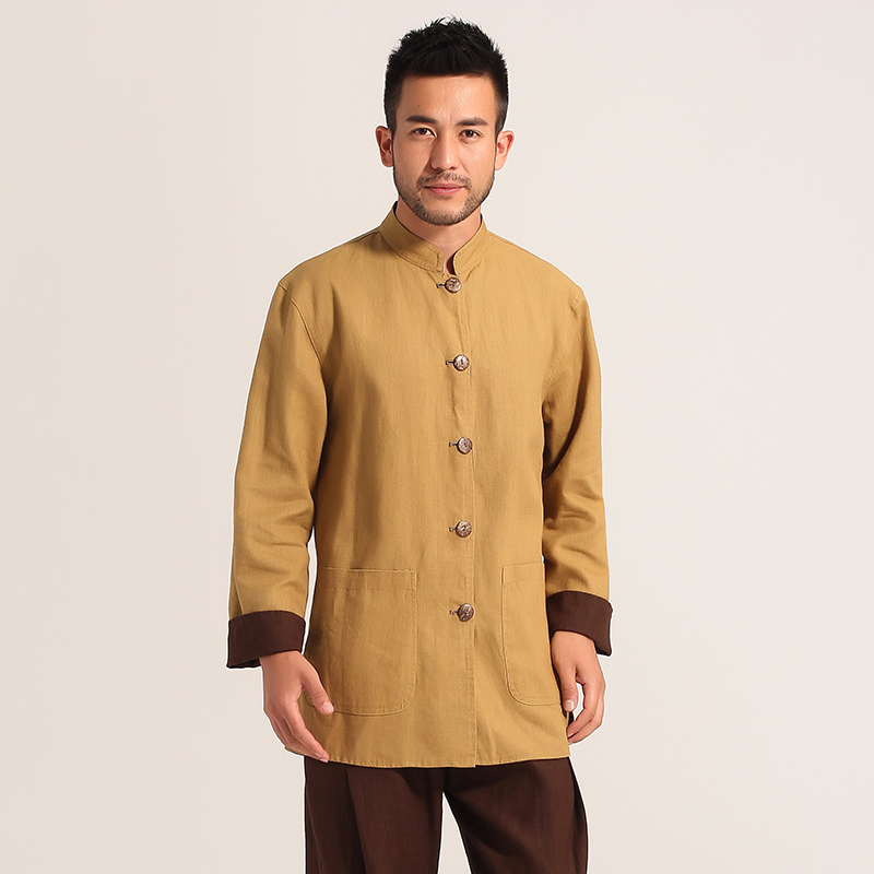 Brown Yellow Reversible Chinese Men's Cotton Linen Jacket Coat Long sleeve Clothing Size S M L XL XXL XXXL MN016