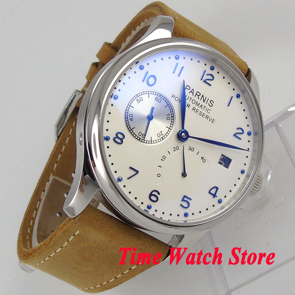 Parnis 43mm men's watch White dial blue hands leather strap power reserve <font><b>ST2530</b></font> Automatic movement wrist watch men128 image