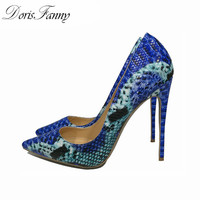 DorisFanny Snake Printed Blue women shoes high heel 12cm/10cm/8cm party shoes for women high heel pumps size 12 42 43