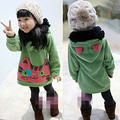 Children's clothing  autumn and winter female child cartoon cat with a hood thickening fleece long design sweatshirt